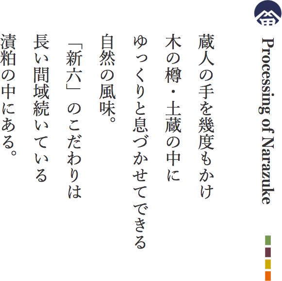Processing of Narazuke 蔵人の手を幾度もかけ木の樽・土蔵の中にゆっくりと息づかせてできる自然の風味。「新六」のこだわりは長い間域続いている漬粕の中にある。